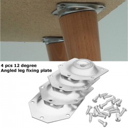 Angled table leg fixing plate - mounting bracket for furniture legs - set 4 pieces