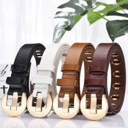 Fashionable leather belt with metal buckle & holes
