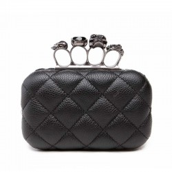 Luxury skull ring vintage plaid bag - clutch bag with chain
