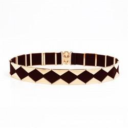 Elegant elastic belt with golden triangles
