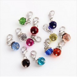 Crystal beads with lobster clasp - keychain - 20 pieces