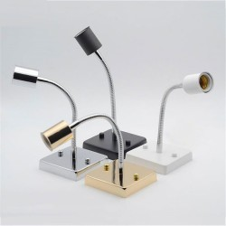 Universal 360 degree E27 lamp holder - ceramic screw socket lamp base - aluminum hose goose neck square base