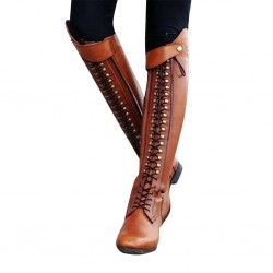 Horse riding boots - lace-up - zipper - leather