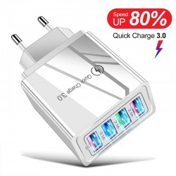 5V 3A - USB charger - Quick Charge 3 & 4 - 4 Ports - EU/US