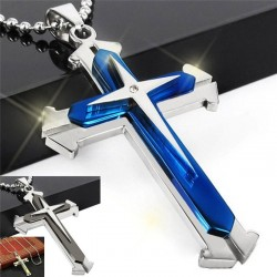 Cross pendant chain - 3D - 3 colours - metal chain