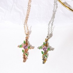 Cross with leaves pendant - necklace - women