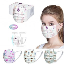 50 pieces - disposable antibacterial medical face mask - mouth mask - 3-layer - unisex