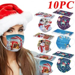 10 pieces - disposable antibacterial medical face mask - mouth mask - 3-layer - unisex - Christmas print