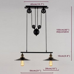 Vintage hanging pulley lamp - 2 / 3 heads - E27 - AC110 - 240V