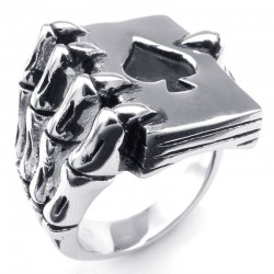 Claw Holding Spades Ring - Metal - Men