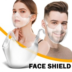 PM2.5 - protective transparent mouth / face mask - plastic shield - reusable