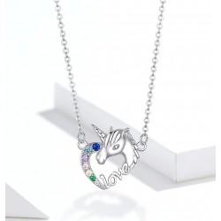 925 Sterling Silver - Unicorn Of Love - Necklaces - Zircon - Pendant