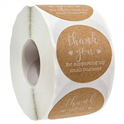 """""""Thank You for supporting my small business"""" - round natural kraft stickers - 100 - 500 pieces"""