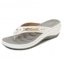 Elegant summer sandals - flip flops with metal and crystals decoration