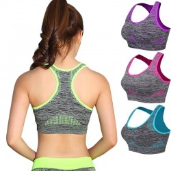 Shockproof fitness bra with push up - padded top