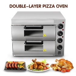 Electric oven - for pizza / chicken / bread - stainless steel - double-layer