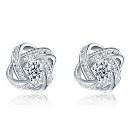 Exclusive small round earrings with crystals - 925 sterling silver