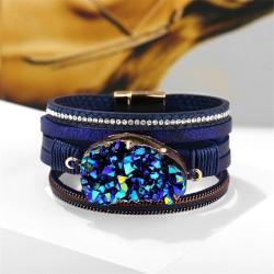 Big stone crystal - wrap bracelets - leather
