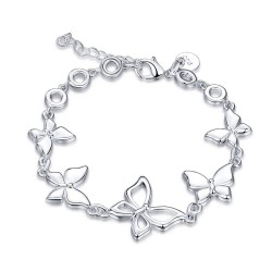 Trendy bracelet with butterflies - 925 sterling silver