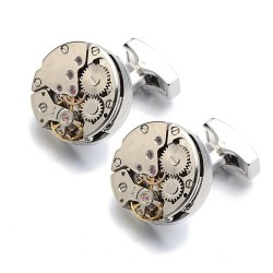 Steampunk gear - cuff links - gold - platinum