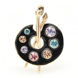 Painting Palette Brooches - Crystal - Enamel - Black - White