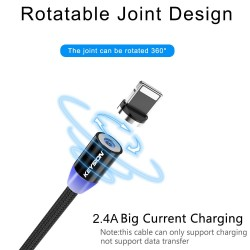 LED Magnetic USB Cable - Fast Charging - Type C - Micro USB - iOS