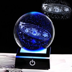 3D globe with 8 planets - crystal ball with base - laser engraved - LED night light - 8cm