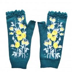 Mittens - Handmade - Flower - Woolen - Knitted Winter Gloves - Half Finger