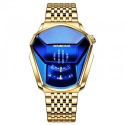 Luxury Quartz watch - waterproof - geometric shape - gold - silver