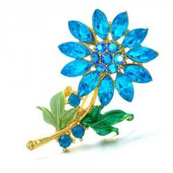 Plant - Flower Brooch Pins - Crystal
