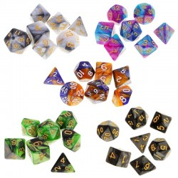 Polyhedral dice - double-colors - rpg - dungeons and dragons - 7pcs