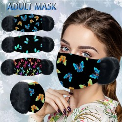 2 in 1 - face / mouth mask with earmuffs - butterflies print