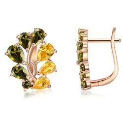Olive tree color zircon - luxurious earrings