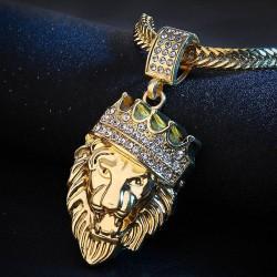 Crowned lion pendant - gold necklace