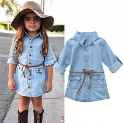 Buttoned up long sleeve shirt - mini denim dress for girls