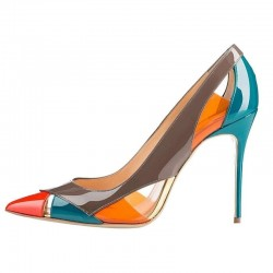Multi colored high heels - cut-out pumps