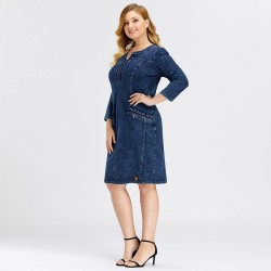 Knitted denim dress - plus size