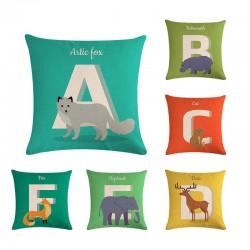 Animal alphabet - cushion cover - cotton - 45 * 45cm