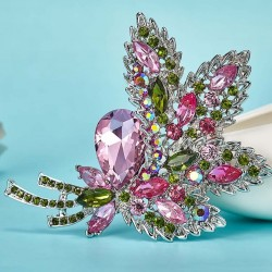 Crystal flower bouquet brooch - brooch pins