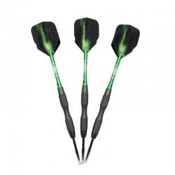 Professional green darts - steel tips - aluminum - 3 pieces
