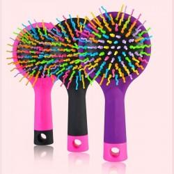 Anti-static comb - rainbow hair brush with mirror