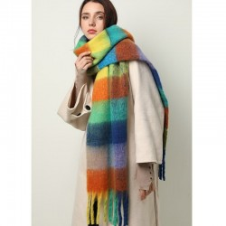 Colorful cashmere shawl with tassels - large - plaid / stripes