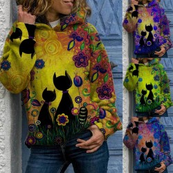 Hoodie with cat print - long sleeve sweater