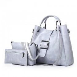 Elegant leather handbag - crossbody - small clutch bag - 3 pieces set