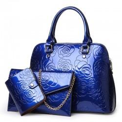 Leather handbag - crossbody - small purse - flowers print - 3 pieces set