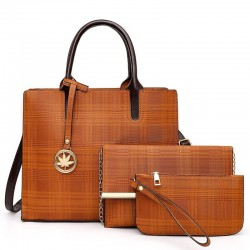 Leather shoulder bag - crossbody - small clutch bag - 3 pieces set