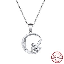 Fairy sitting on moon pendant - necklace - 925 sterling silver