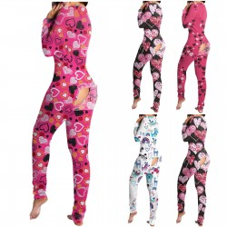 Sleeping jumpsuit with buttons - one-piece pyjama with functional flap back