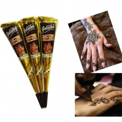 Henna cream - paste - temporary tattoo - hand-painting - black - red - 3 pieces