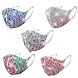 Face / mouth protective mask - reusable - dustproof - colorful rhinestones